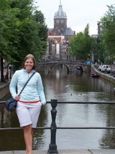Jess overlooking one of the many canals in Amsterdam.