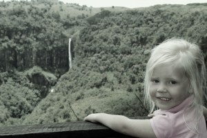 Sophie looking at Gura Falls...