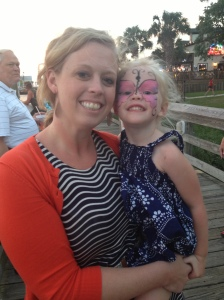 Aunt Jenn with a beautiful butterfly faced Sophie...