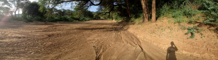 The dried-out riverbed that borders Loki...