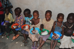 Beautiful children enjoying a meal in Lokichoggio...