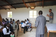 Speaking to a group of pastors in Rangwe.