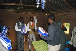 Joe distributing nets in Nyakatch...